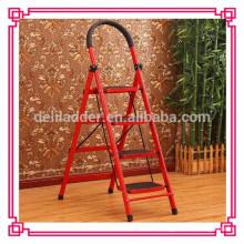 4 Stufen klappbare Stahlleiter / Leiterstuhl / Stufenleiter aus Edelstahl