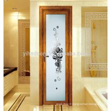Porte de salle de bain en verre dépoli intérieur moderne / porte en aluminium pour intérieur