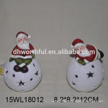 Keramik Weihnachten Ornament santa mit LED