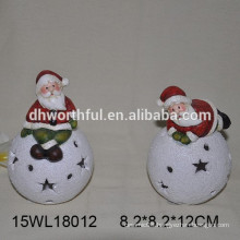 Ceramic Christmas ornament santa with LED