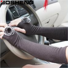 Senhora tecido condução protetor solar braço longas luvas tecidas