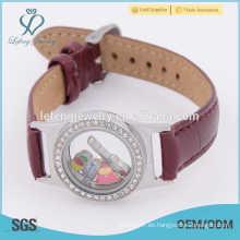 Reloj de cuero de la pulsera del abrigo, pulseras de encargo baratas del paño, reloj flotante del reloj