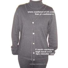 Cashmere Twince: Sweater V, Vest H Set