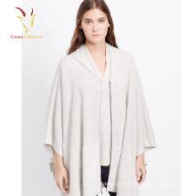 Suéter hecho punto con capucha de las señoras que tejer modelo, poncho de ganchillo con capucha de lana