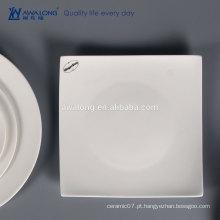White Custom Logo Bone China Placa de jantar quadrada cerâmica fina