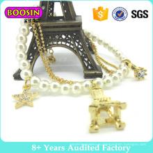 Браслет шарма перлы ювелирных изделий способа покрынный золотом