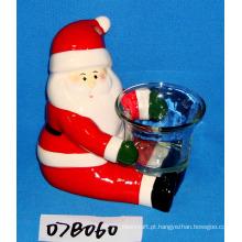 Santa cerâmica pintada à mão com suporte de vela de vidro