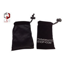 12 * 6 Cm Black Printed Velvet Drawstring Bag For Gift Custom