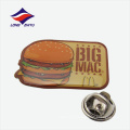 Impressão de hambúrguer epoxy lapela emblema borboleta fivela