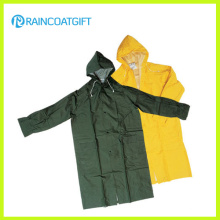 PVC Polyester Long Sleeve Men′s Raincoat