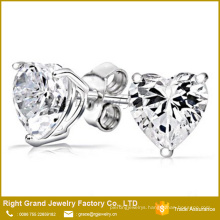 Customzies Stainless Steel Prong Set Clear Heart Cubic Zircon Stud Earrings Jewelry