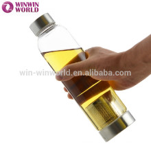 Botellas de agua de cristal borosilicato de copa mundial con correas
