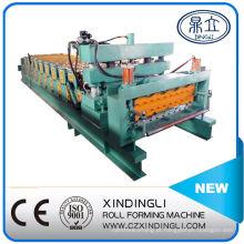 Máquina formadora de rolos de chapa de telhado de dupla plataforma automática de aço com cor hidráulica automática