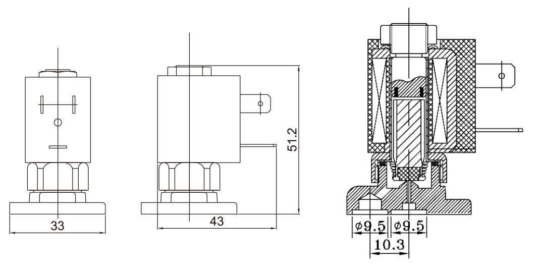 Dimension of 5515-05 Normally Closed 2/2 Way Electrical Valve: