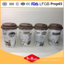CE / EU 400 мл Decal печати кружка кофе с силиконовым рукавом и крышкой для BS131126D