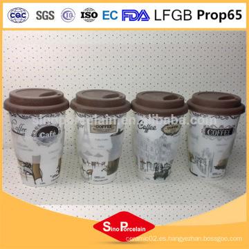 Producto de cerámica respetuoso del medio ambiente 400ml taza de café de cerámica sin mango, taza de silicona