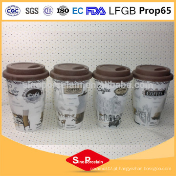 Produto de cerâmica ecológica 400ml caneca de café cerâmica sem alça, caneca de silicone