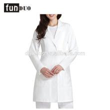Mulheres hosopital médico vestido branco uniforme médico longo esfrega vestido