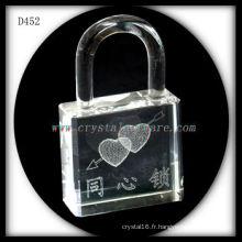 K9 3D Laser Subsurface Love à l'intérieur de la serrure en forme de cristal