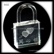 K9 3D Laser Subsurface Love Inside Lock Shaped Crystal