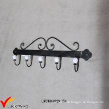 5 gekrümmte Retro Wandmontierte schwarze Metallmantelhaken