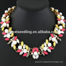 Gem pearl metal necklace sexy collar necklace