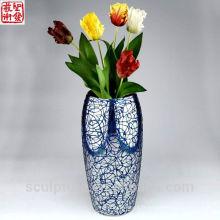 2016 New Blue Abstract Acier inoxydable Fleur Vase Décoration intérieure Potiche