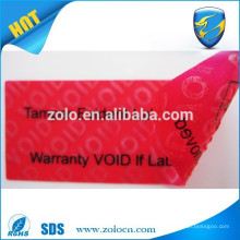 PET tamper evident void packing label/warranty void adhesive label