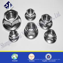 Porca de flange hexagonal de grau 8 Porca de flange hexagonal zincada Din6923 porca de flange