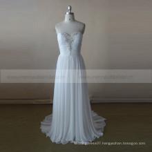 Simple Sweet Heart Beaded Pleated Chiffon Wedding Dress Vestidos de noiva