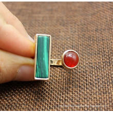 Wholesale Women Simple Malachite Ring Natural Agate Rectangle Round Stones Resizable Unique Ring