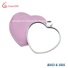 Pink Leather Heart Shape Cheap Modern Cosmetic Mirror Vanity