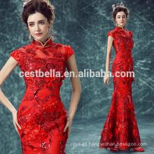 Los últimos vestidos de noche de la sirena rojos Nuevo vestido de noche rojo del estilo largo barato para el vestido del desgaste del partido de las señoras