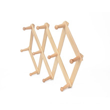 Wooden material folding wall mounted clothes hanger rack for coat hats
