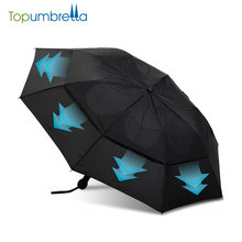 market auto open double layer 2 fold strong windproof Rain umbrella for sale