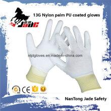13G azul Lind Palma blanca PU guante recubierto