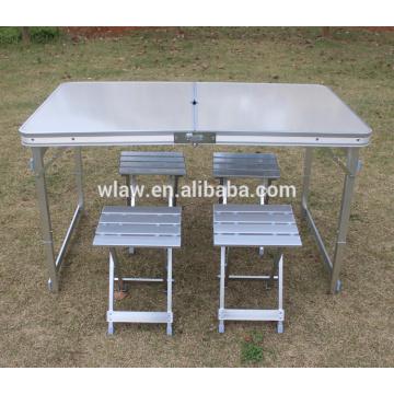 Table en aluminium portative pliable extérieure et tabourets en aluminium