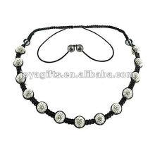 Белое ожерелье shamballa с шариками 13PCS кристаллическим