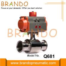 Válvula de esfera pneumática de tripla braçadeira de aço inoxidável sanitário