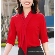 Fashion Scarf Streamer Half Sleeve Design Women New Temperament Shirt