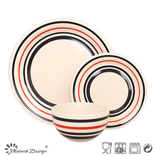 18PCS Handpainted Color Circle Stoneware Dinner Set