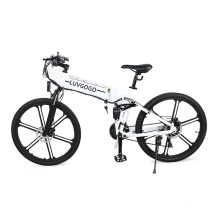 Luvgogo 6~21-Speed Electric Bike MTB Mountain Folding Bicycle Full Suspension 500w Motor Fat Tire Electric Bicycle