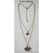 Double Metal Silver Plated Necklace with Crown Pendant