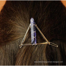 Women Crystal Hairpin Natural Crystal Triangle Circle Moon Handmade Copper Wire Wrapped Hairpin