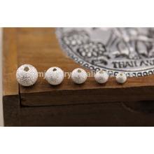 Sef025 10pc / lot 4/5/6/7/8 milímetro de los granos flojos de plata tailandeses s925 accesorios de la joyería de plata diy hechos a mano frosted la venta al por mayor moldeada