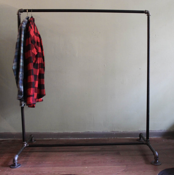 Black cast iron pipes used for Coat Racks