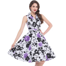 Bello Poque Stock Sleeveless Retro Vintage Sleeveless Lapel Collar Cotton Floral Print Retro 50s Party Dress BP000003-2