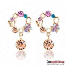 18k Gold Plated Round Crystal Drop Pendant Brincos Earring (ER0007-C)