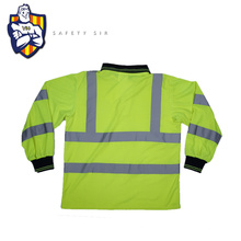 New product Long sleeve green reflective polo shirt  safety vest shirt