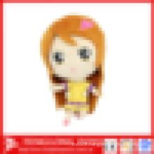 La plus belle jouet de poupée de bébé en peluche fille, jouet en peluche avec de longs cheveux et des vêtements jaunes